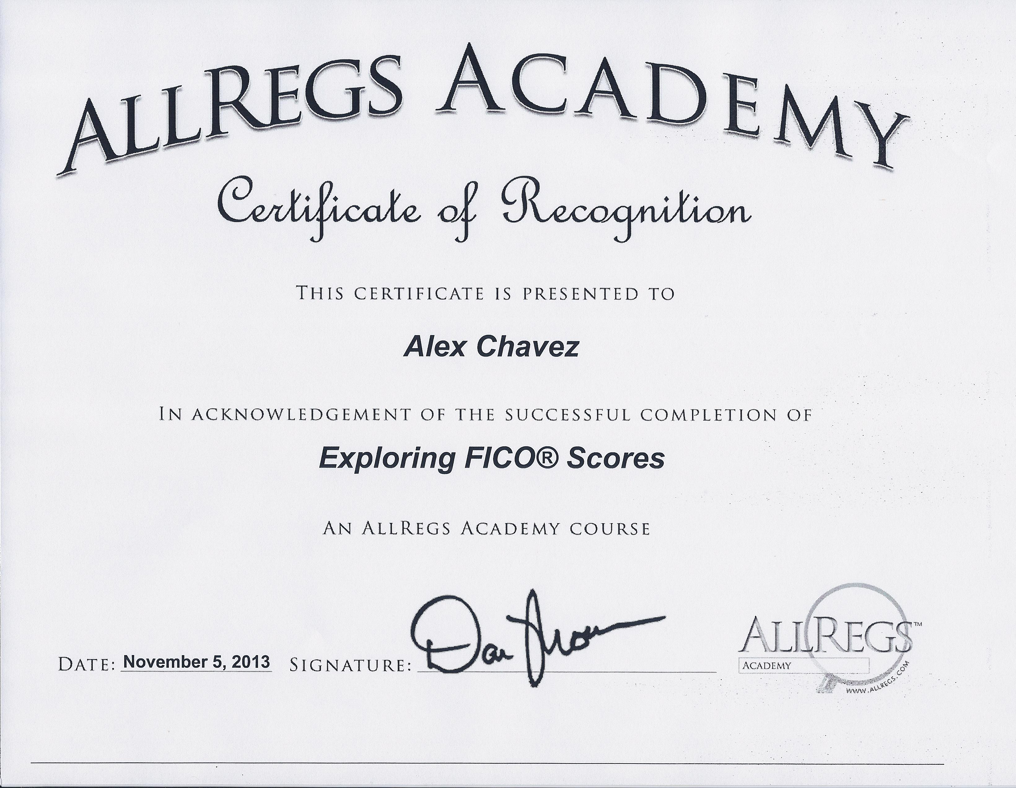 My FICO Certification 2